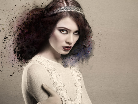 Portrait of gorgeous young lady with watercolor elements photo