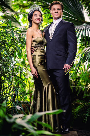 Gorgeous lady in long evening dress and with tiara on a head and handsome man in classic suit photo