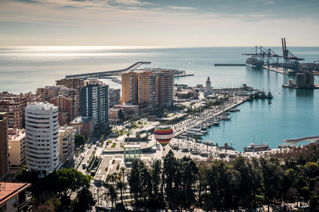 Aerial view of Malaga port. Spain