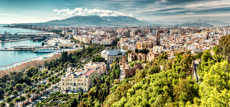 beaches of spain: Panoramic view of Malaga city. Andalusia, Spain