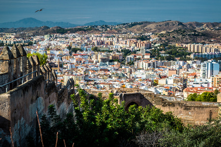 andalusia: Malaga cityscape, view from the Gibralfaro fortress. Andalusia, Spain
