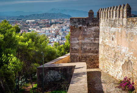 Malaga cityscape, view from the Gibralfaro fortress. Andalusia, Spain
