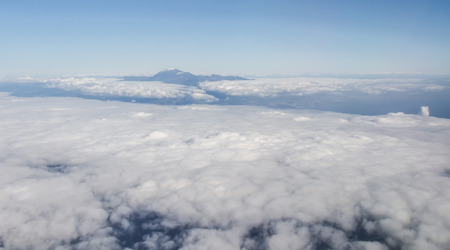 canary island: Volcano Teide, aerial view from window of airplane. Canary Island, Spain
