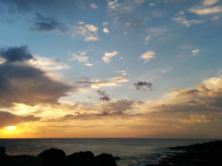 canary island: Beautiful sunset over the Atlantic Ocean. Canary Island, Tenerife. Spain Stock Photo