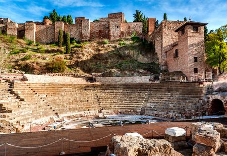 マラガのローマ劇場。スペインのアンダルシア州 写真素材