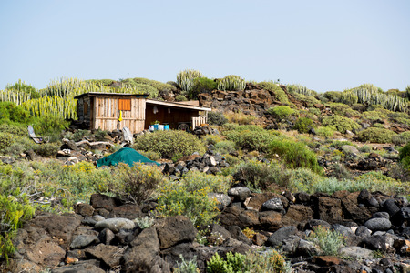 Self-made hovel in a tropics. Photo taken in Tenerife coast. Canary Islands. Spain
