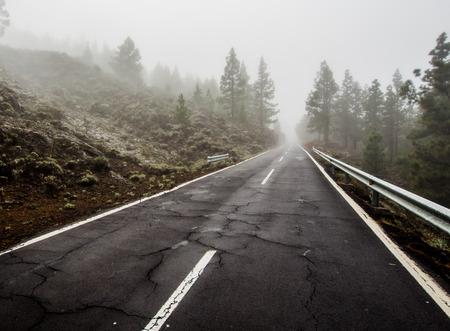 volcano slope: Foggy road to volcano Teide. North slope. Tenerife, Canary Islands. Spain Stock Photo