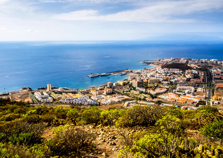 the americas: Los Cristianos and Las Americas, view from Guaza mountain. Tenerife, Canary Islands. Spain Stock Photo