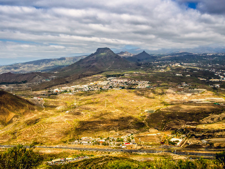 conde: Aerial view to the Roque del Conde. Arona, Tenerife, Canary Islands. Spain Stock Photo