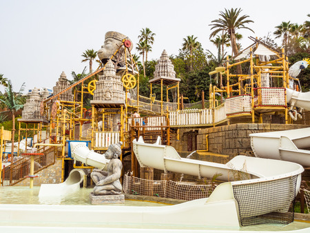 Tenerife, Canary Islands - January 13, 2015: The Lost City water attraction in the Siam waterpark. The Siam is the largest and the most spectacular water attraction in Europe