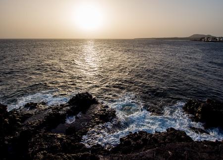 Sunset in Costa del Silencio. Tenerife, Canary Islands. Spain photo