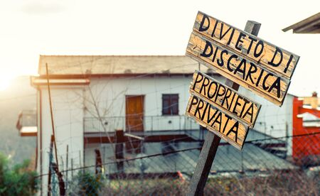 private property: Private property, wooden sign