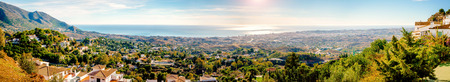 Panoramic view from the Mijas village to Fuengirola town. Andalusia,  Costa del Sol. Spain