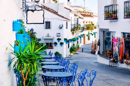 Mijas street. Charming white village in Andalusia, Costa del Sol. Southern Spain Redactioneel