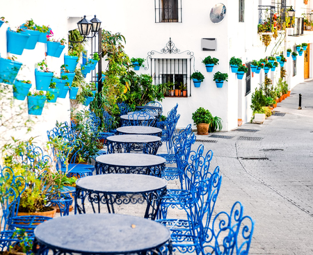 Mijas street. Charming white village in Andalusia, Costa del Sol. Southern Spain Редакционное