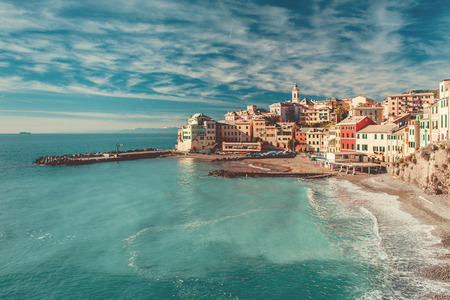 View of Bogliasco. Bogliasco is a ancient fishing village in Italy 스톡 콘텐츠
