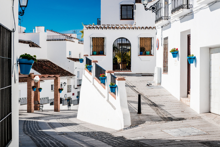 Picturesque street of Mijas. Charming white village in Andalusia Costa del Sol. Southern Spain