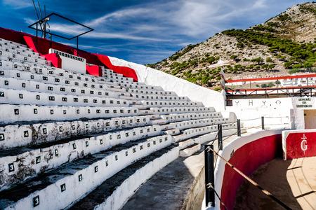bullring: Bullring stadium seats in white village of Mijas. Built in 1900. Costa del Sol Andalusia Spain