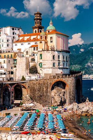 nature scenery: Picturesque beach in Atrani village. Amalfi Coast in the province of Salerno in the Campania region of southwestern Italy Editorial