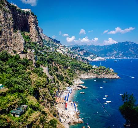 amalfi: Amalfi Coast. Stunning landscape with cliffs and Mediterranean sea. Italy