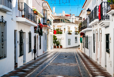 Picturesque street of Rancho Domingo. Charming white village in Benalmadena. Andalusia southern Spain