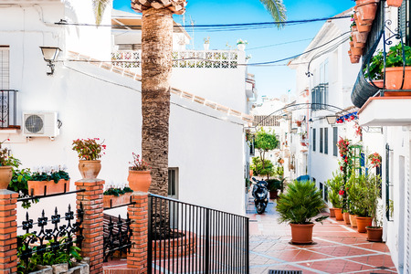 backstreet: Picturesque backstreet of Rancho Domingo. Charming white village in Benalmadena. Andalusia southern Spain