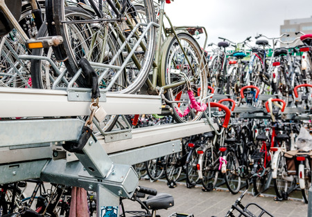 eindhoven: Eindhoven Netherlands  May 23 2015: Bicycle parking in Eindhoven Central Station. Bicycles are popular way to get around for the Dutch Editorial