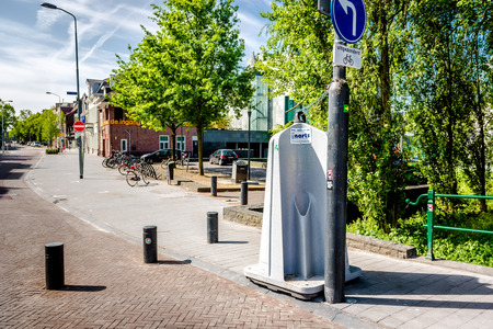 eindhoven: Eindhoven NetherlandsMay 24 2015: Public urinal also known as Krul.  At busy days they are installed in the necessary spots after which they are taken away and cleaned