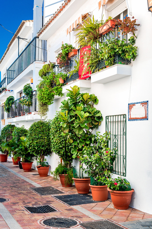 andalusia: Picturesque street of Rancho Domingo. Charming white village in Benalmadena Malaga. Andalusia southern Spain
