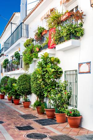 domingo: Picturesque street of Rancho Domingo. Charming white village in Benalmadena Malaga. Andalusia southern Spain