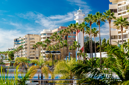 View of the Marbella resort city. Province of Malaga Andalusia Costa del Sol. Southern Spain