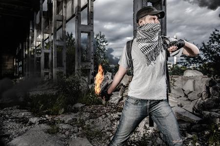 molotov: Man with Molotov cocktail