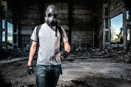 insurrection: Man in a gas mask