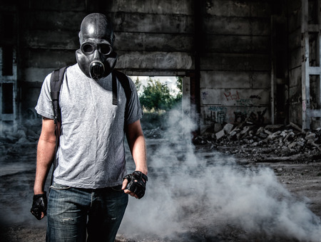 radiation pollution: Man in a gas mask