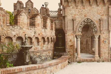 christopher: Part of Colomares Castle. Castle dedicated to the explorer and navigator Christopher Columbus. Benalmadena town. Province of Malaga. Andalusia. Spain
