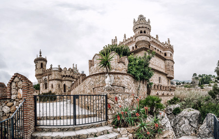 christopher columbus: Panorama of Colomares Castle. Castle dedicated to the explorer and navigator Christopher Columbus. Benalmadena town. Province of Malaga. Andalusia. Spain