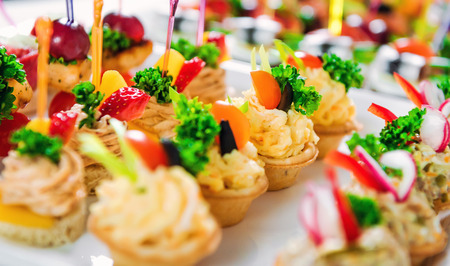 fillings: Close-up of tartlets with various fillings