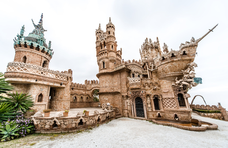 fairytale castle: Colomares Castle. Castle dedicated to the explorer and navigator Christopher Columbus. Benalmadena town. Province of Malaga. Andalusia. Spain