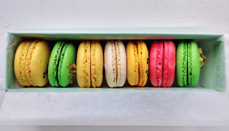 flavors: Different flavors and colors of macarons. Traditional french sweets