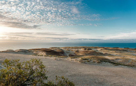 baltic sea: Sunrise over dunes and Baltic Sea. Curonian Spit, Nida, Lithuania. Stock Photo