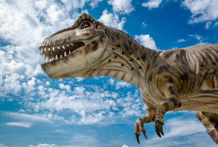 Realistic model of a Tyrannosaurus against cloudy sky background