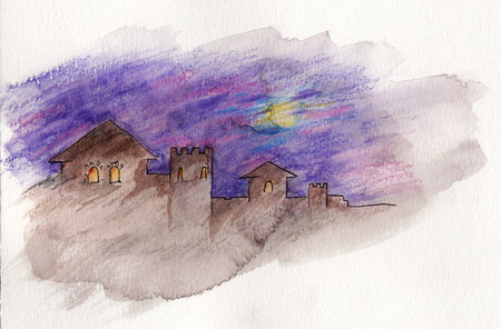 fortification: Mysterious ancient castle. Watercolor on paper - hand illustration Stock Photo