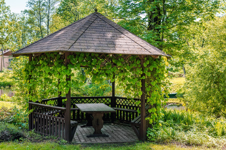 entrance arbor: Wooden gazebo over summer landscape Stock Photo