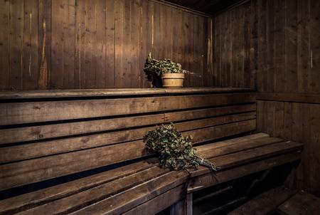 bathhouse: Oak brooms inside of a bath house Stock Photo