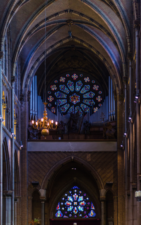 pipe organ: Eindhoven, Netherlands - May 24, 2015: Pipe organ in Saint Catharine Church Catharinakerk in Eindhoven, Netherlands Editorial