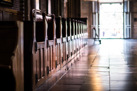 pews: Wooden pews in a row in a church