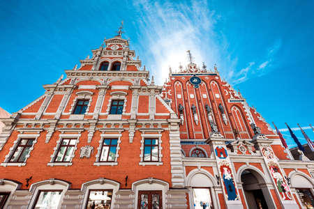 Facade of the House of Blackheads. The building has been destroyed during the Second World War, and restored in 1999. Riga, Latvia