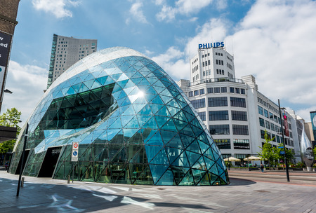 eindhoven: Eindhoven, Netherlands - May 24, 2015: Day view of the old Philips factory building and modern futuristic building in the city centre of Eindhoven. Western Europe Editorial