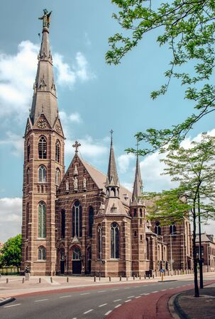 eindhoven: Exterior of a 19th century Father Church Augustijnenkerk in Eindhoven, Netherlands