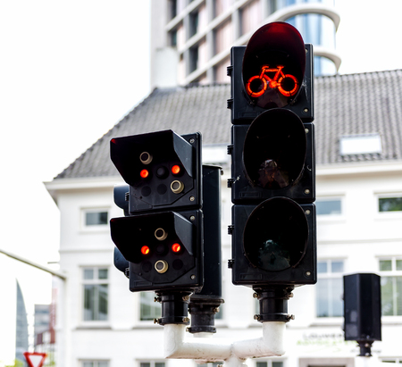 eindhoven: Bicycle traffic lights in Eindhoven, Netherlands Stock Photo